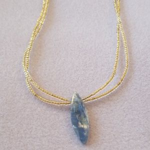Kyanite Pendant 14kt Gold Lined Seed Bead Necklace